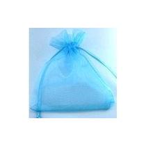 50 Saquinhos De Organza 9x12 C/ Fita De Cetim Azul