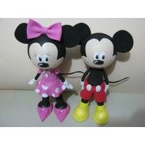 Bonecos Minie E Mickey 3d Em Eva