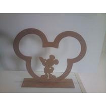 Centro De Mesa Mickey / Minie + Galinha Pintadinh Em Mdf Cru