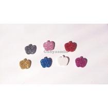 Maçã Em Eva C/ Glitter - 1,5 Cm - Branca De Neve