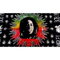 Lenço Bandana Bob Marley Reggae Cannabis Algodão 55x55cm