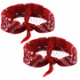 Kit Com 2 Bandanas Vermelhas - Rock 100% Algodão 55cmx55cm