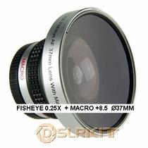 Fisheye 0.25x + Macro 12.5 P/ Filmadora 37mm 34mm 30mm 25mm