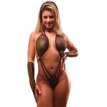 Body Preto Sexy Fio Dental Fetiche Sensual + Par De Luvas