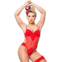 Lingerie Conjunto Feminino Flor De Liz Vermelho Sexy Sensual