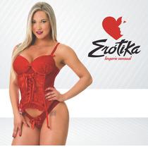 Corpete Corselet Vermelho Kate Erótika + Liga + Meia Sexy