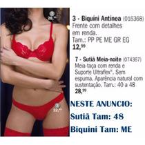 Conjunto Sutia Calcinha Rendas Vermelho Demillus Pronta Entr
