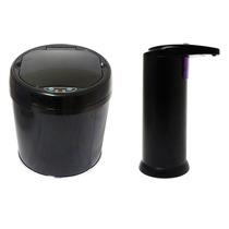 Lixeira Inox Automática C/ Sensor 06 Lts E Saboneteira Preta