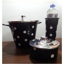 Kit Pia Cozinha Lixeira Porta Sabão Detergente Alumínio Poá
