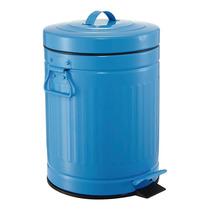Lixeira Retro Vintage Azul 12 Litros Cozinha Banheiro Ferro
