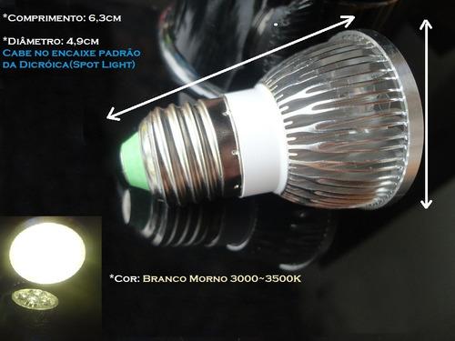 Lâmpada 4 Mega Leds 4w Dicróica E27 Padrão Comum Bi-110 220v