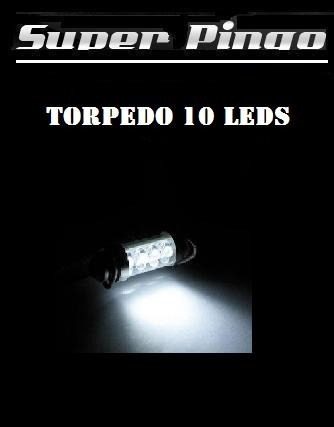 Lâmpada Torpedo 10 Leds Xenon 42mm Hi-power 10x Mais Forte