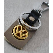 Chaveiro Volkswagem Liga De Metal Dourado E Couro Preto