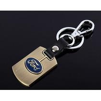 Chaveiro Ford Liga De Metal Dourado E Couro Preto