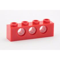 Lego Technic 5 Peças Brick 4x1 C/3 Furos - Vermelho Pn 3701