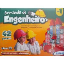 Brinquedo Pedagógico Madeira Brincando Engenheiro - 42 Peças
