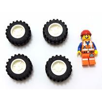 Lego Peças Jogo 4 Rodas Aro+pneu 30.4x14vr - L310
