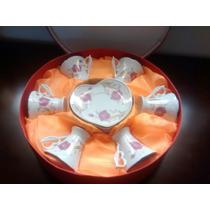 Jogo De Porcelana Com 06 Xícaras E Pires Formato Coração