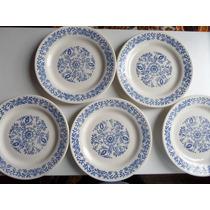 5 Pratos De Sobremesa Porcelana Oxford   Antigo