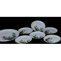Jgo 7 Pratos Bolo Sobremesa Porcelana Yamato Decorados Cchic
