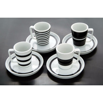 Conjunto 4 Xíc Espresso White Black - Salt & Pepper