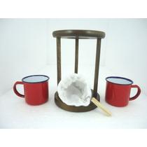 Coador De Café Individual Com 2 Canecas Vermelhas Em Ágata