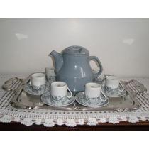Jogo De Café 6 Xicaras E Bule De Porcelana E Bandeja De Inox