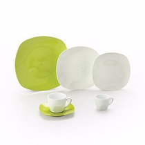 Jogo De Jantar De Porcelana Verde Quadrado 42 Peças