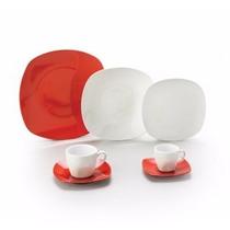 Jogo De Jantar De Porcelana Vermelho Quadrado 42 Peças