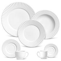 Aparelho De Jantar 42 Peças Plissé Branco - Frete Grátis