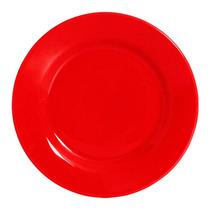 Conjunto 6 Pratos Rasos Em Cerâmica Standard Vermelho