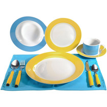 Aparelho De Jantar Hazi 40 Peças Combinando Amarelo E Azul