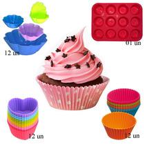 Kit Top De Formas Em Silicone Para Cupcake Vários Formatos