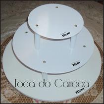 Kit Suporte Bolo Redondo 3 Andares C/ 30cm + 21cm + 16cm $