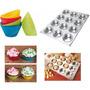 Kit Forma +12 Forminhas Silicone Cupcakes Doces Pão Queijo