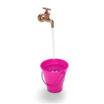 Caneca Magica Fonte De Agua Torneira Cascata Rosa Balde