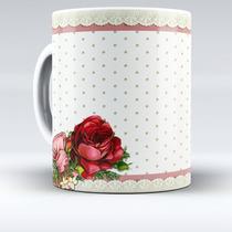 Caneca De Porcelana Rosas Vintage - Mod.4 - 143gc - Xicara