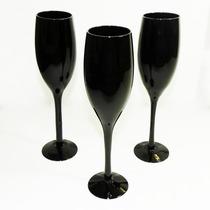 Jogo De 3 Taças De Champagne Vidro Pretas Vinho