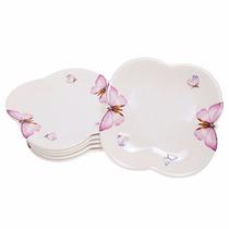 Jogo 6 Pratos Porcelana Sobremesa Borboletas Wolff 19cm-1167