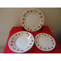 Trio De Pratos Porcelana Biona/oxford Linha Roseli Floral