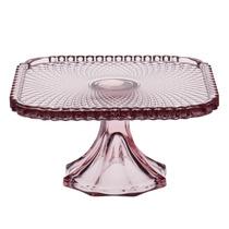Prato Com Pedestal Quadrado Bico De Jaca Vidro Rosa 20cm
