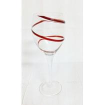 4 Taça De Vinho Com Detalhe Vermelho P/festas Natal Ano Novo