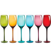 Jogo De Taças Para Vinho Drops Vidro Colorido 460ml 6 Peça