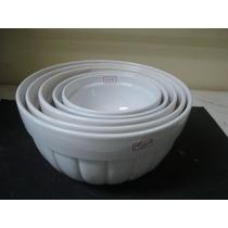 #6339# Jogo 5 Tigelas De Porcelana Canelada Branca!!!