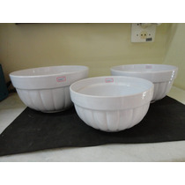 #7705# Jogo 3 Tigelas Em Porcelana Canelada Branca!!!