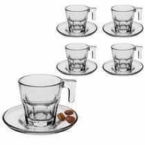 Jogo 6 Xícaras C/ Pires Para Café Espresso 70ml De Vidro