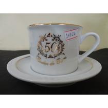 #14926 - Par Xícaras Chá Porcelana Bodas De Ouro!!!