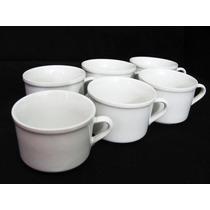 Jogo 6 Xícara Cha 90 Ml Porcelana Caneca Cafe Branca