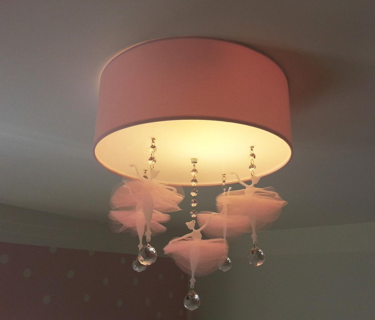 Luminária Plafon Bailarinas2 Quarto De Bebê Menina R  ~ Luminaria De Teto Para Quarto Juvenil