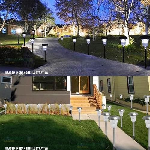 Luminaria Solar Para Jardim 6 Pecas Em Aco Inox Ec1126